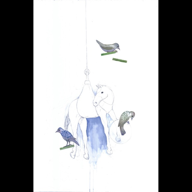 "Lucinda Bliss, Suspended, pencil and watercolor on paper, 40"" x 26"", 2012"