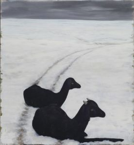 "Untitled (Two Goats), oil and wax on canvas, 66"" x 72"", 2013"